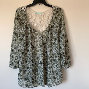 Maurices XXL Sheer Green 3/4 Length Sleeve Blouse